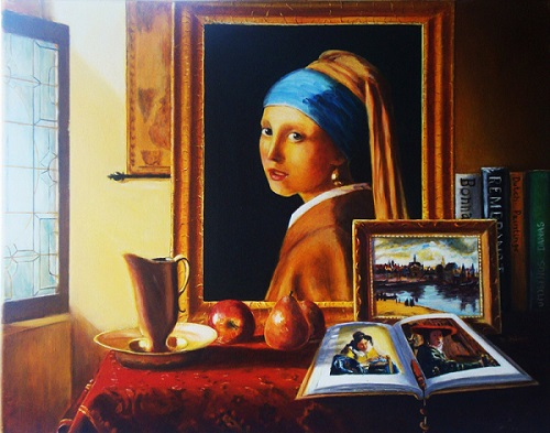 Vermeer Master of Light, oil on canvas by Nino Dobrosavljevic