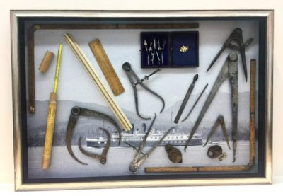 Shadow box frame with Mariners Tools